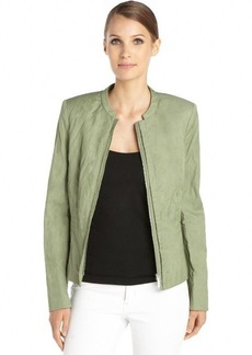 Lafayette 148 New York okra green cotton blend woven crinkle 'Margot' jacket