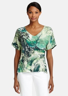 Lafayette 148 New York 'Olivette' Print Silk V-Neck Blouse