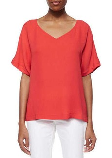 Lafayette 148 New York Olivette V-Neck Tunic Blouse