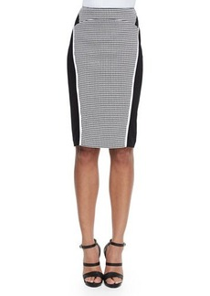 Lafayette 148 New York Omega Grid-Print Paneled Pencil Skirt