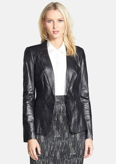Lafayette 148 New York One-Button Lambskin Leather Jacket