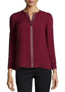 Lafayette 148 New York Opal Leather-Trimmed Silk Georgette Blouse, Merlot