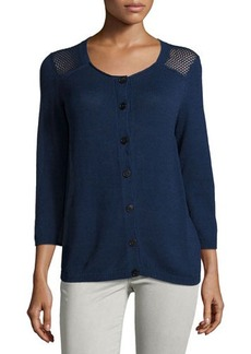 Lafayette 148 New York Open-Knit Long-Sleeve Cardigan