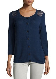 Lafayette 148 New York Open-Knit Long-Sleeve Cardigan, Luna