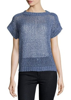 Lafayette 148 New York Open-Knit Short-Sleeve Sweater