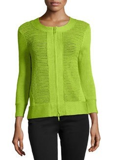 Lafayette 148 New York Open Knit Zipped Cardigan, Grass