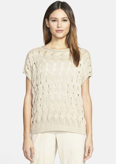 Lafayette 148 New York Open Stitch Silk & Cotton Sweater
