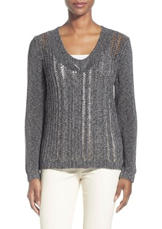 Lafayette 148 New York Open Stitch V-Neck Sweater