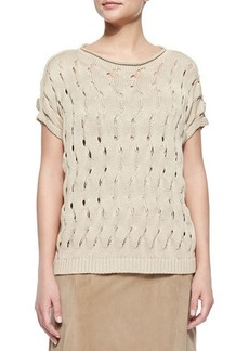 Lafayette 148 New York Open-Wave-Stitch Sweater, Soy