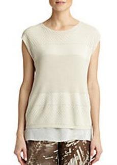 LAFAYETTE 148 NEW YORK Opulent Cotton Multi-Stitch Sweater
