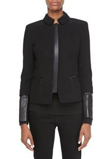 Lafayette 148 New York Orah Crepe Jacket with Leather Cuffs  Orah Crepe Jacket with Leather Cuffs