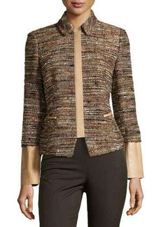 Lafayette 148 New York Orah Tweed Jacket with Leather Detail