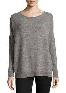 Lafayette 148 New York Outland Wool-Blend Drop-Shoulder Sweater, Nickel