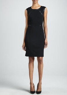 Lafayette 148 New York Overlook Leather-Trim Dress