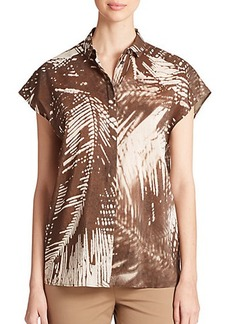 Lafayette 148 New York Palm-Print Blouse