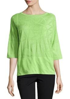 Lafayette 148 New York Palm Tree Knit Sweater