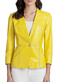 Lafayette 148 New York Paneled Leather & Georgette Blazer