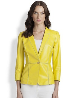 Lafayette 148 New York Paneled Leather Georgette Blazer