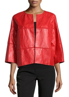Lafayette 148 New York Paneled Open-Front Leather Jacket