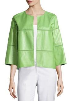 Lafayette 148 New York Paneled Open-Front Leather Jacket