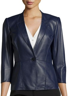 Lafayette 148 New York Patchwork 3/4-Sleeve Leather Blazer