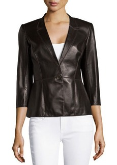 Lafayette 148 New York Patchwork Leather One-Button Jacket