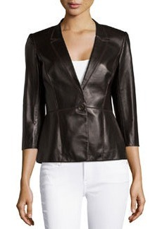 Lafayette 148 New York Patchwork Leather One-Button Jacket, Espresso