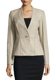Lafayette 148 New York Patchwork Leather One-Button Jacket, Putty