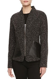 Lafayette 148 New York Patricia Leather-Pocket Tweed Jacket