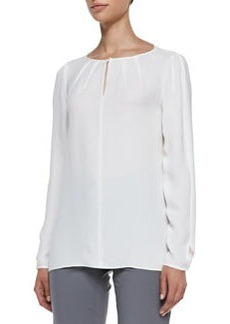 Lafayette 148 New York Pattie Long-Sleeve Silk Blouse, Cloud