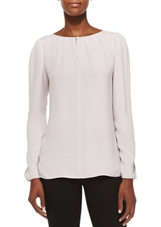 Lafayette 148 New York Pattie Long-Sleeve Silk Blouse, Lark