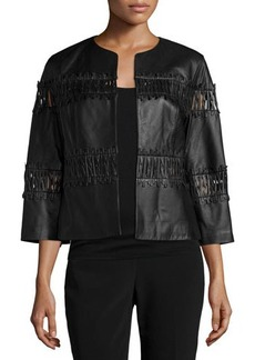 Lafayette 148 New York Paz Cropped Leather Jacket, Black