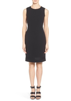 Lafayette 148 New York 'Pearla' Knit Inset Tech Cloth Sheath Dress