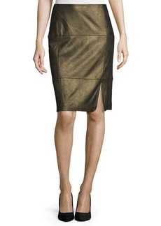 Lafayette 148 New York Pencil Skirt W/Curved Slit