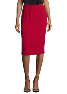 Lafayette 148 New York Pencil Skirt W/Satin Side-Seams, Snapdragon