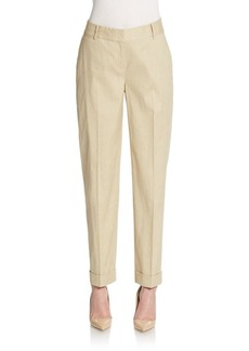 Lafayette 148 New York Perry Stretch Linen & Cotton Cuffed Ankle Pants