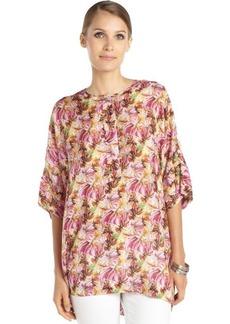 Lafayette 148 New York pink printed silk woven 'Selene' dolman sleeve tunic