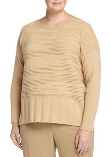 Lafayette 148 New York Plus Pintucked Bateau-Neck Dolman Sweater