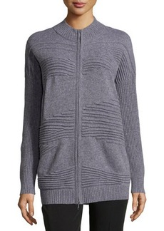 Lafayette 148 New York Pintucked Zip-Front Cardigan
