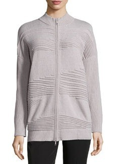 Lafayette 148 New York Pintucked Zip-Front Cardigan, Luxor Melange