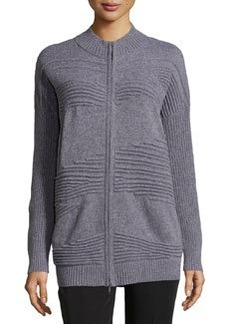 Lafayette 148 New York Pintucked Zip-Front Cardigan, Nickel