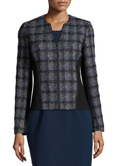 Lafayette 148 New York Plaid Contrast-Panel Zip-Front Jacket