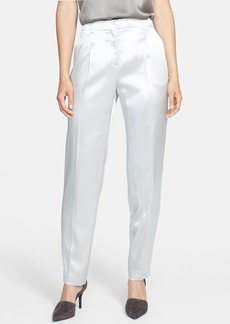 Lafayette 148 New York Pleat Front Silk Charmeuse Pants