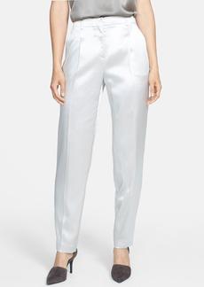 Lafayette 148 New York Pleat Front Silk Charmeuse Pants