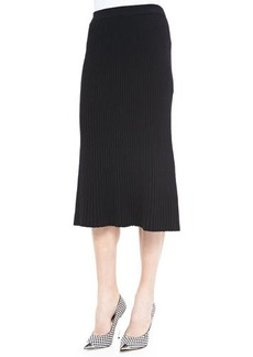 Lafayette 148 New York Pleated A-line Knit Skirt