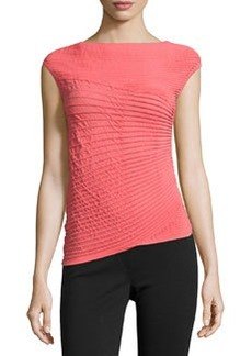Lafayette 148 New York Pleated Asymmetric Cap-Sleeve Sweater, Geranium