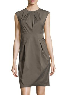 Lafayette 148 New York Pleated Cap-Sleeve Dress