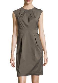 Lafayette 148 New York Pleated Cap-Sleeve Dress