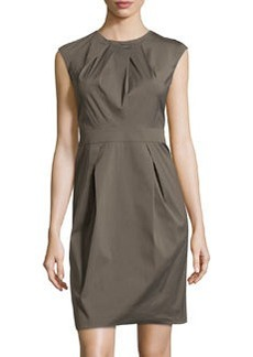 Lafayette 148 New York Pleated Cap-Sleeve Dress, Cremini