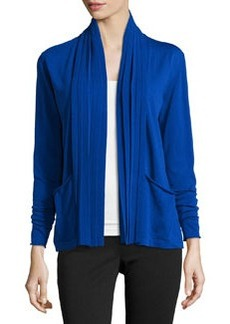 Lafayette 148 New York Pleated-Front Long-Sleeve Cardigan, Electric Blue